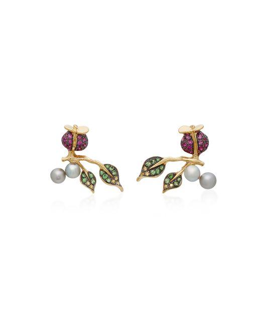 Colette | Metallic Thistle 18k Gold Diamond Earrings | Lyst