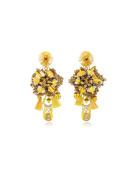 Ranjana Khan | Yellow 14k Gold-plated, Raffia, Leather, Crystals, And Antique Gold Coins Drop Earrings | Lyst