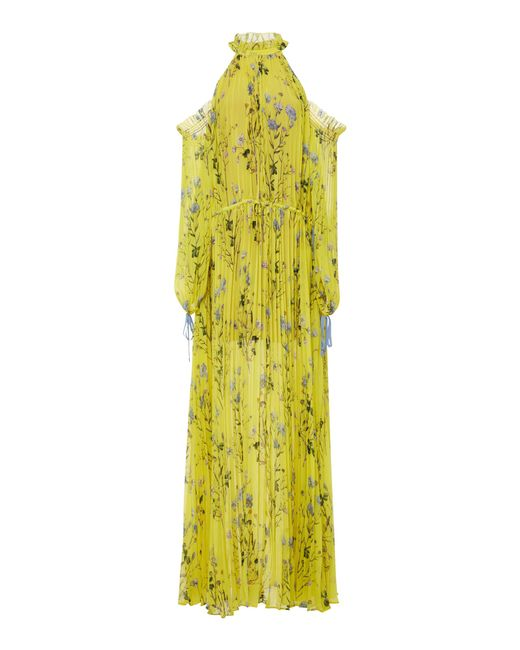 Self-Portrait - Yellow Pleated Maxi Dress - Lyst