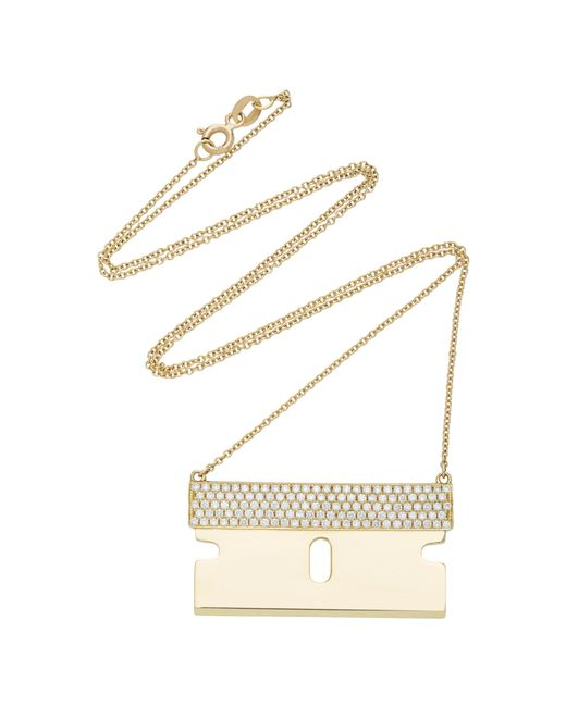 Established - Metallic 18k Gold And Diamond Razor Blade Necklace - Lyst