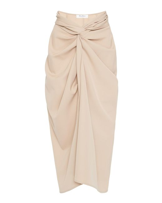 Max Mara - Natural Uva Knotted Wool-crepe Midi Skirt - Lyst