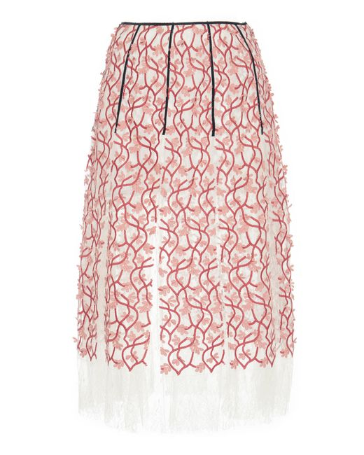 Giambattista Valli - Pink Floral Embroidered Skirt - Lyst