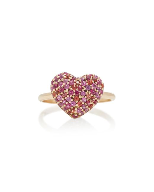 She Bee - Pink 14k Gold And Sapphire Heart Ring - Lyst