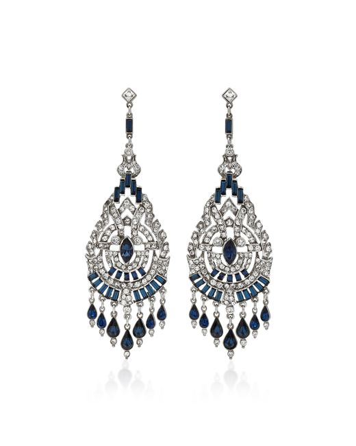 Ben-Amun | Blue Silver-tone Crystal And Sapphire Earrings | Lyst