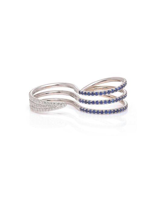 Melissa Kaye - Cris 18k White Gold, Diamond And Blue Sapphire Two-finger Ring - Lyst
