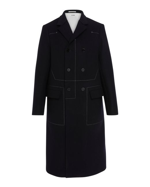Jil Sander - Blue Contrast Stitching Double Breasted Wool Coat for Men - Lyst