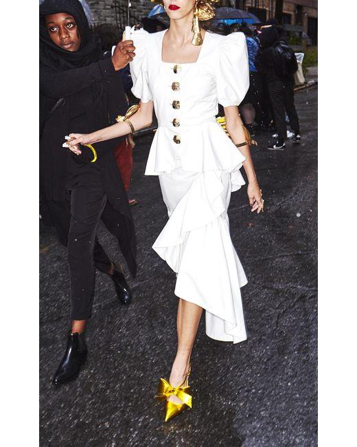 4482ae753b Rodarte Ruffle Leather Skirt in White - Save 20% - Lyst