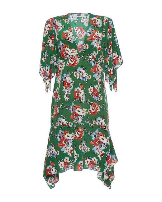 MSGM   Blue - Cat Print Shift Dress - Women - Polyester/viscose - 38   Lyst