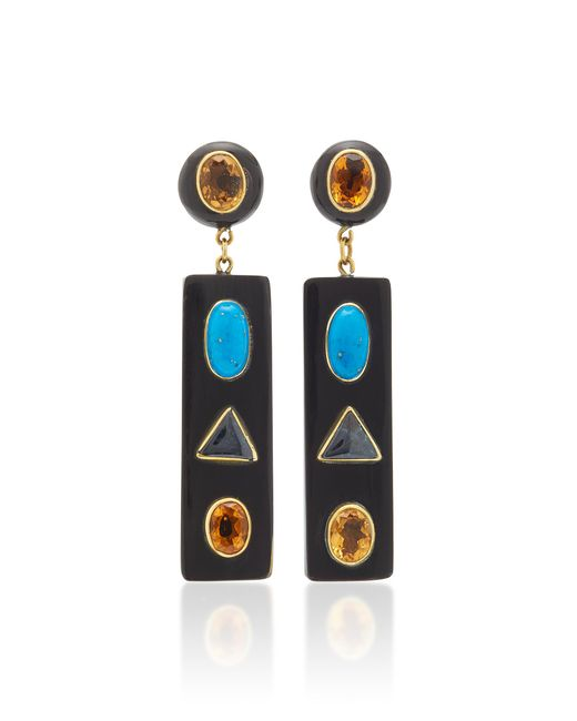 Ashley Pittman - Black Ada Horn Multi-stone Gold-tone Earrings - Lyst