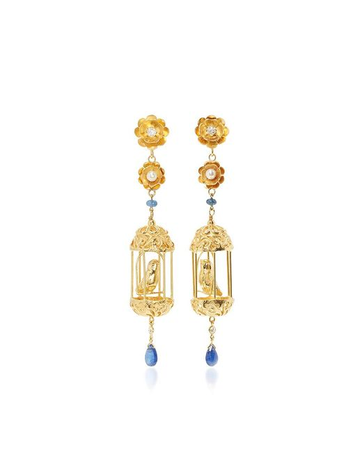 Of Rare Origin   Metallic M'o Exclusive Gold Aviary Classic Earrings   Lyst