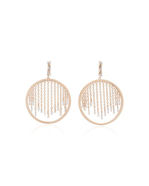 Suzanne Kalan - Pink 18k Rose Gold And Diamond Hoop Earrings - Lyst
