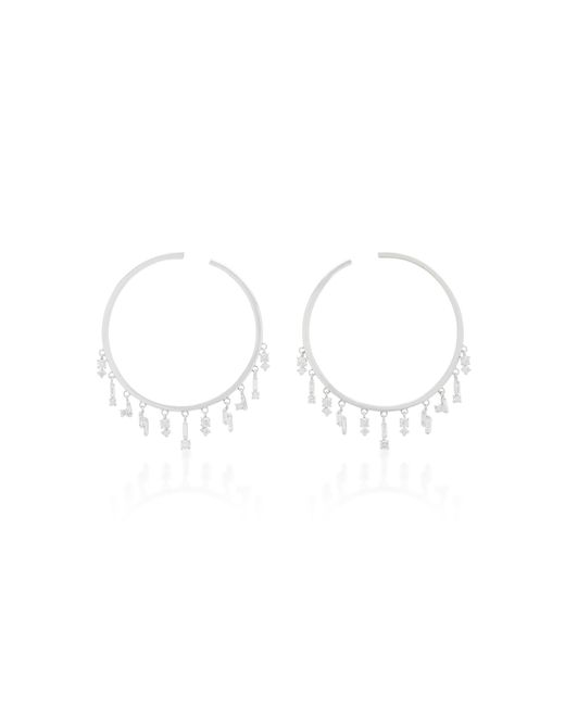 Suzanne Kalan - 18k White Gold And Diamond Hoop Earrings - Lyst