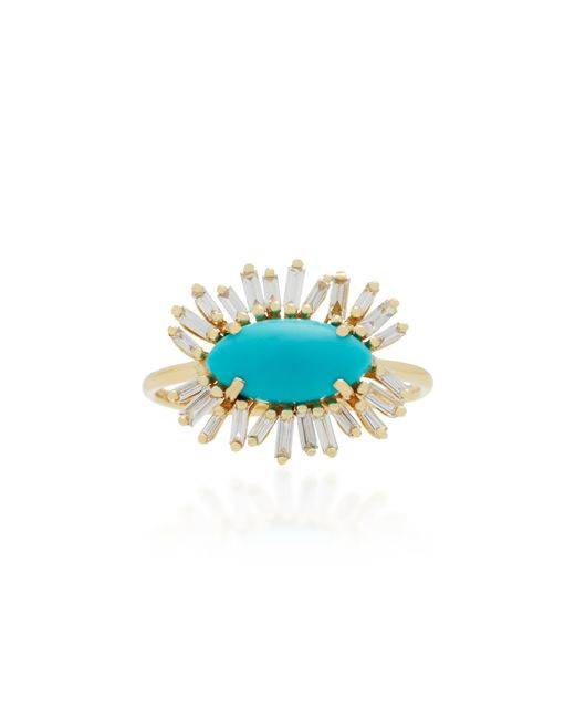 Suzanne Kalan - Blue 18k Gold, Turquoise And Diamond Ring - Lyst