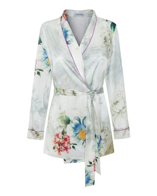 Adriana Iglesias - Blue Waldorf Floral Silk Satin Pajama Top - Lyst