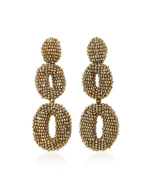 Oscar de la Renta | Metallic Beaded Double Oval P Earring | Lyst
