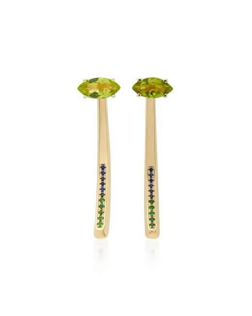 Bea Bongiasca | Green Tiger Lily 18k Gold Multi-stone Earrings | Lyst