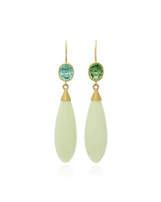 Mallary Marks   Green Apple & Eve 18k Gold Paraiba And Chrysoprase Earrings   Lyst