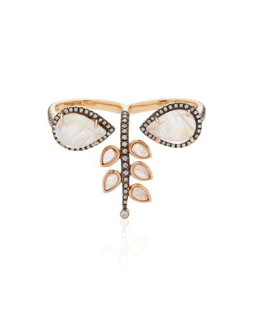 Misahara | Metallic 18k Rose Gold Rainbow Moonstone And Diamond Ring | Lyst
