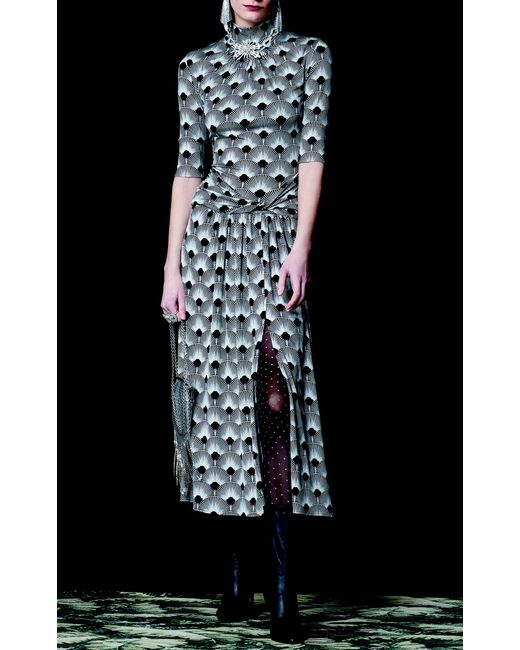 Paco Rabanne. Women s Printed Jersey Ruched Slit Dress f51fc586e