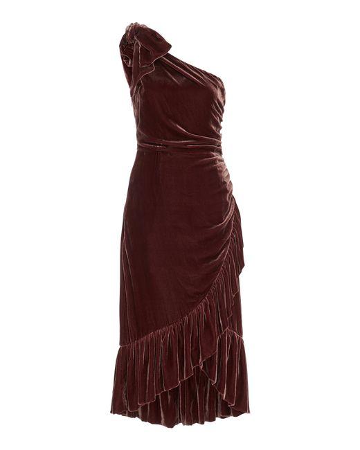 Ulla Johnson Multicolor Velvet Asymmetric Dress Lyst