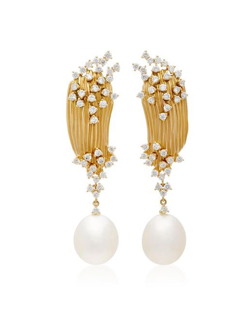 Hueb - Metallic Plisse 18k Gold, Diamond And Pearl Earrings - Lyst