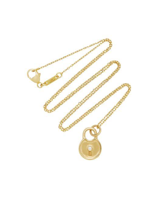 Monica Rich Kosann - Metallic 18k Gold Diamond Round Lock Charm Necklace - Lyst