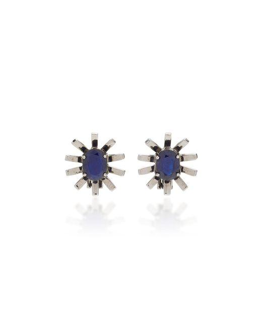 Jack Vartanian | Blue Gala 18k White Gold And Black Rhodium Sapphire Earrings | Lyst