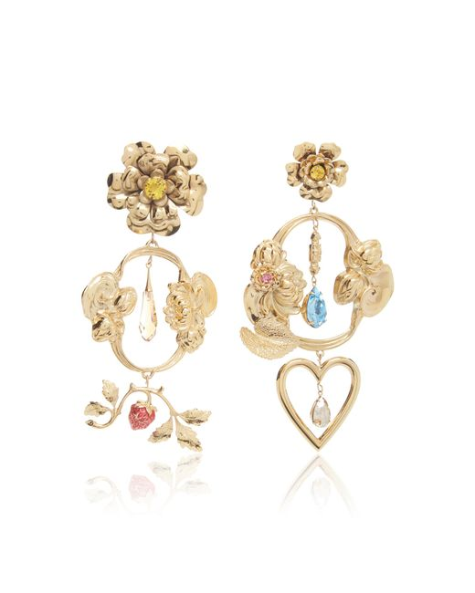 Rodarte - Metallic Gold Baroque Floral And Heart Dangle Earrings With Swarovski Crystal Details - Lyst
