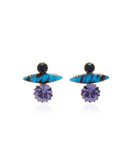 Nicole Romano   Blue 18k Gold-plated Stacked Crystal Earrings   Lyst