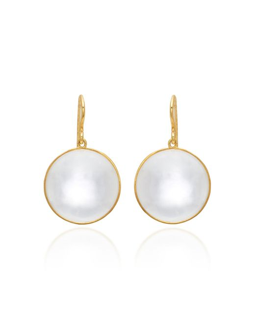 Renee Lewis - White 18k Gold Crystal Quartz Earrings - Lyst