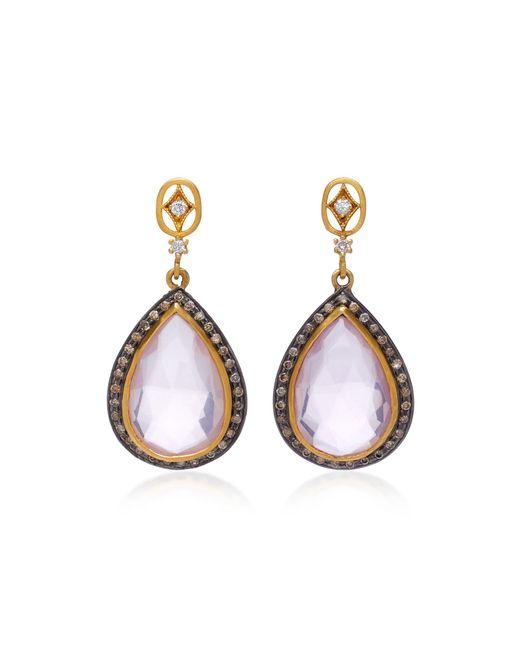 Sara Weinstock - Pink 18k Gold, Rose Quartz And Diamond Earrings - Lyst
