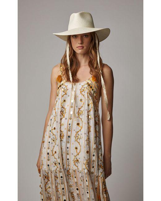 2c0b0ef1fe0 Janessa Leone Cezanne Silk-trimmed Straw Hat in White - Lyst