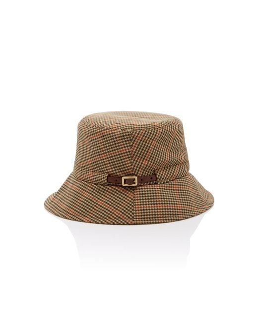 ... Eric Javits - Brown Checked Bucket Hat - Lyst ... 9c46312daa0b