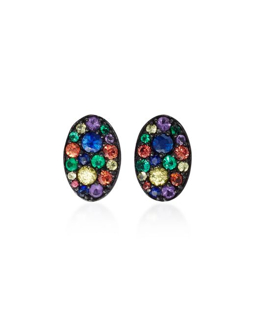 Colette | Baby Les Chevalieres 18k Black Gold Gemstone Earrings | Lyst