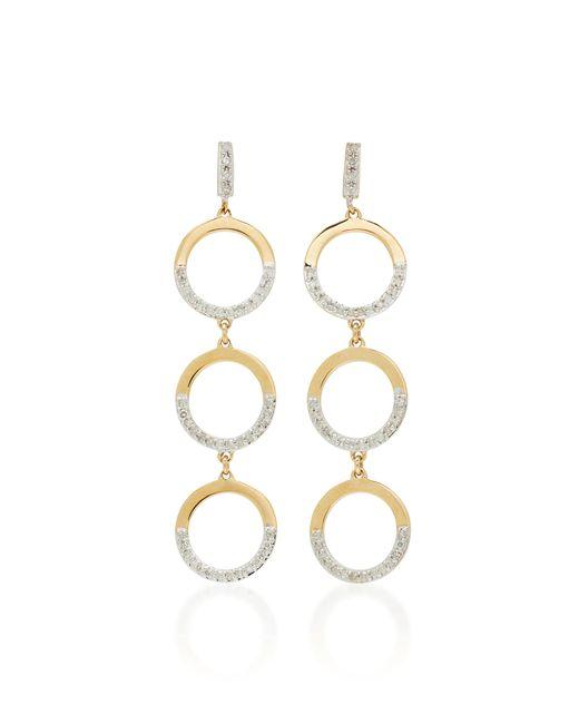 Mateo - White 14k Gold Tiered Hoop Drop Earrings - Lyst