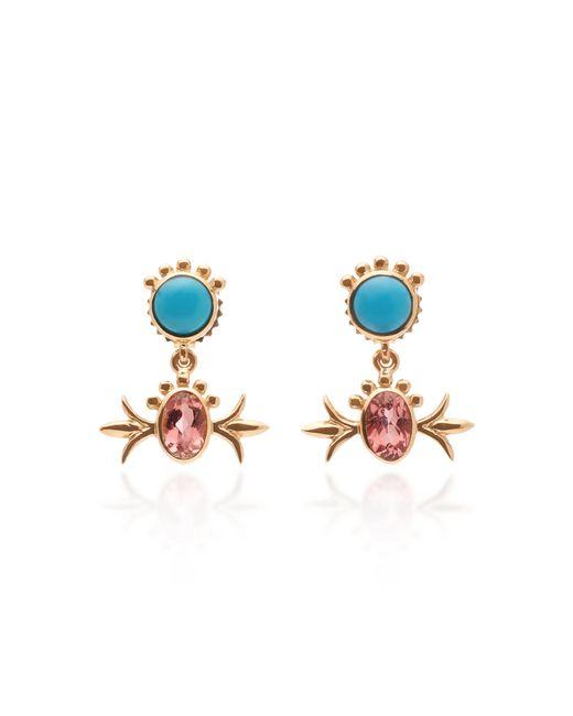 Marlo Laz - Metallic Squash Blossom 14k Gold, Turquoise And Pink Tourmaline Hanging Studs - Lyst