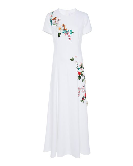 lyst carolina herrera short sleeve embroidered midi dress in white Fashion Evening Gowns carolina herrera white short sleeve embroidered midi dress lyst