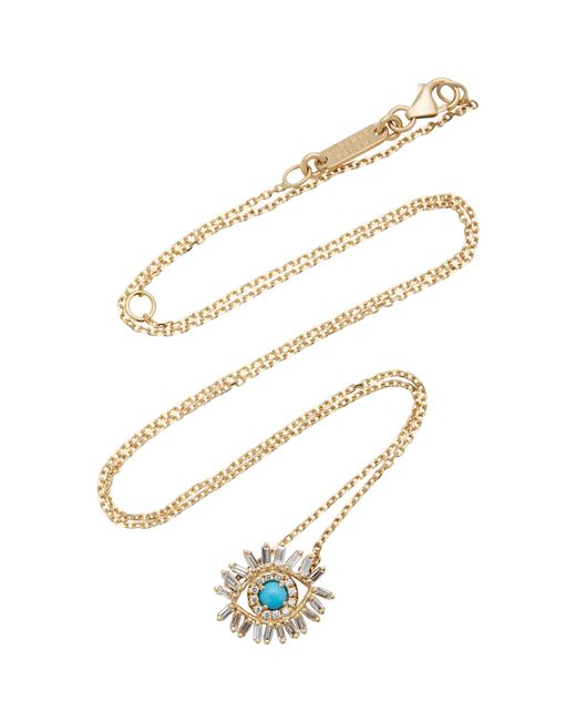 Suzanne Kalan - Blue Small Diamond Turquoise Evil Eye Necklace - Lyst