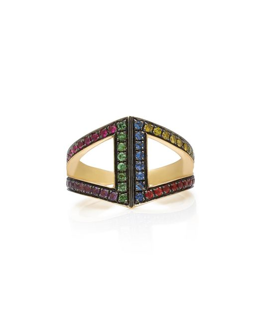 Noor Fares - Metallic 18k Gold Rainbow Rhombus Ring - Lyst