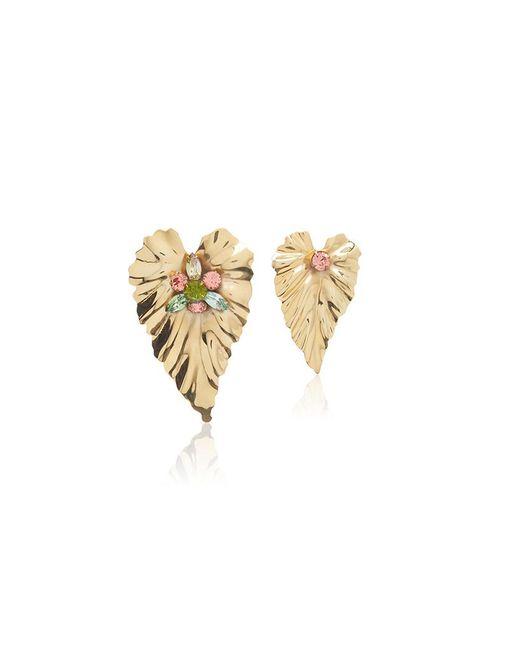 Rodarte - Metallic Gold Stud Leaf Earrings With Swarovski Crystal Details - Lyst