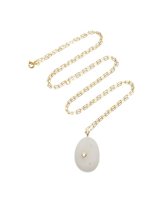 Cvc Stones - White One-of-a-kind Chalky 18k Gold, Stone And Diamond Necklace - Lyst