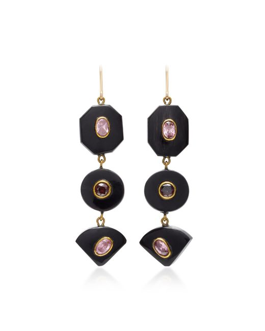 Ashley Pittman - Brown Zambarau Dark Horn, Rose Quartz And Garnet Earrings - Lyst