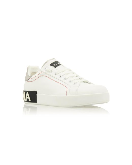 amp; Gabbana Leather Dolce Metallic Trimmed White In Lyst Logo Sneakers 6w5qSpSnW