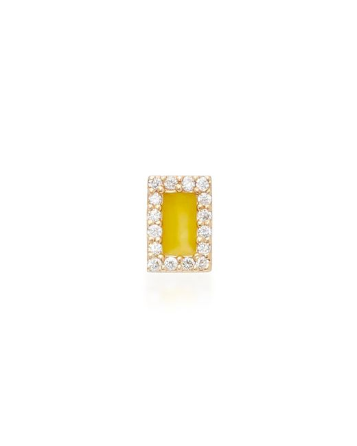 Alison Lou | Rectangle 14k Yellow Gold And Diamond Stud Earrings | Lyst