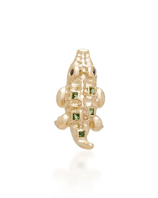 Yvonne Léon - Metallic Mini Crocodile 18k Gold, Tsavorites And Black Diamond Single Earring - Lyst
