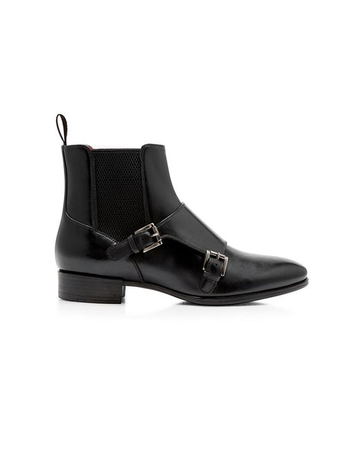 Santoni | Black Double Monk Ankle Boot | Lyst