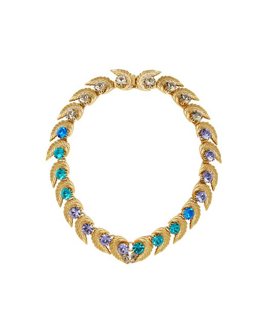 Nicole Romano | Blue 18k Gold-plated Leaf And Colored Crystal Necklace | Lyst