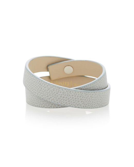 Valextra - Gray Double Wrap Leather Bracelet - Lyst