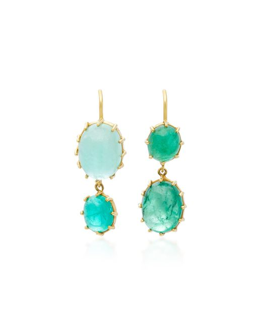 Renee Lewis | Green 18k Gold Cabochon Emerald Earrings | Lyst