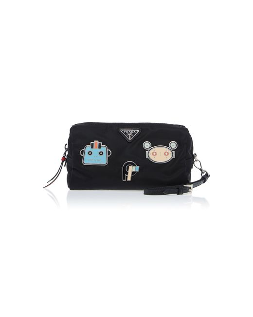 Prada - Black Fabric Patched Pouch - Lyst